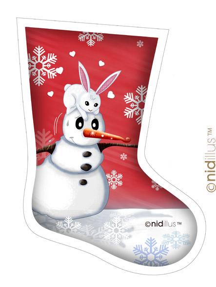 coupon nidillus chaussettes -bonhomme neige rouge ss p